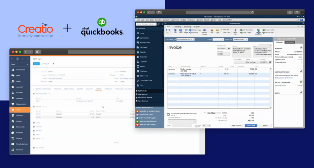 Cretio CRM Integration with QuickBooks